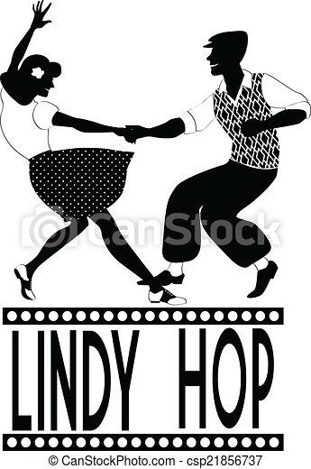 Lindy hop silhouette - csp21856737