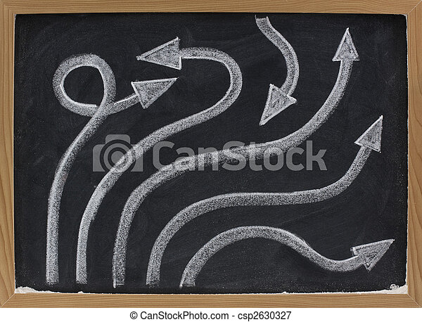 line and arrow abstract on blackboard - csp2630327