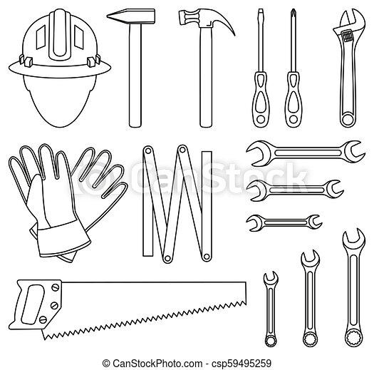 Line art black and white 15 handyman tools set - csp59495259
