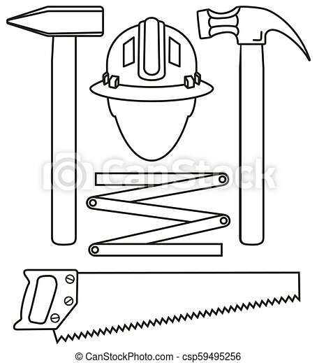 Line art black and white 5 handyman tools set - csp59495256