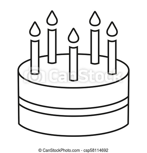Fantastic Line Art Black And White Birthday Cake 5 Candles Coloring Page Birthday Cards Printable Benkemecafe Filternl