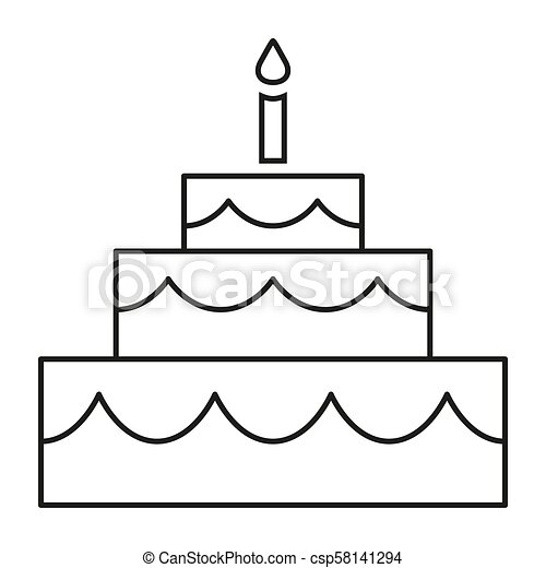 Phenomenal Line Art Black And White Birthday Cake Coloring Page For Adults Birthday Cards Printable Benkemecafe Filternl
