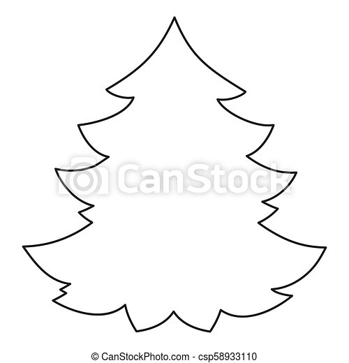 Line Art Black And White Christmas Tree Coloring Book Page For