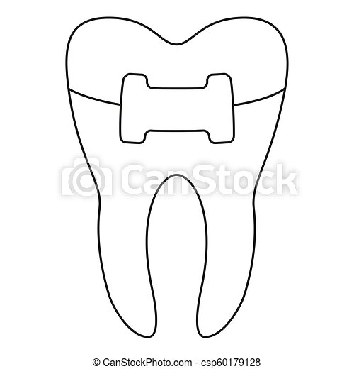 Line art black and white healthy tooth in brace