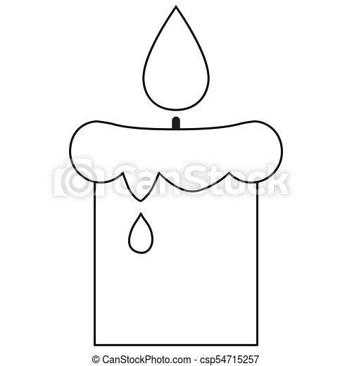 Line art black and white lighted candle icon poster. coloring book ...