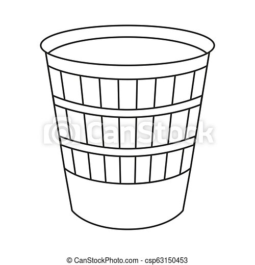 Line Art Black And White Trash Can Kitchen Garbage Container Waste Disposal Themed Vector Illustration For Icon Logo Canstock