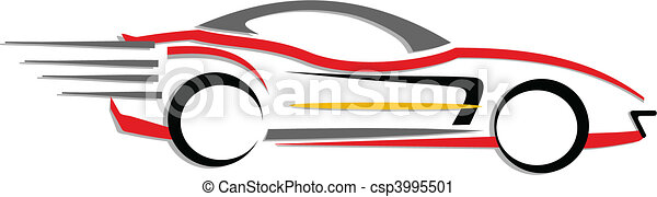 Line Art Of Sports Car Vector Illustration Of Fast Moving