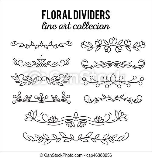Line art ornaments. Flourishes. Dividers set floral decoration. Ornamental  decorative elements