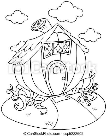 Line Art Pumpkin House - csp5222608