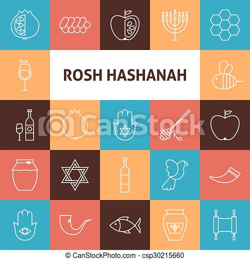 line art rosh hashanah jewish new year holiday icons set csp30215660