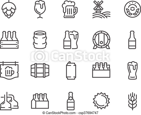 Line Beer Icons Simple Set Of Beer Related Vector Line Icons Contains Such Icons As Barrel Six Pack Keg Signboard Mug