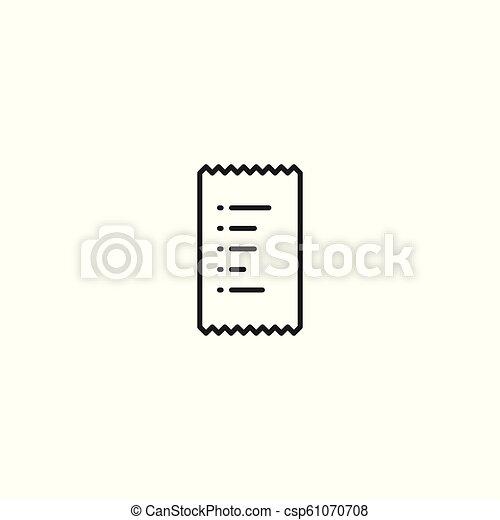 line bill receipt icon on white background - csp61070708