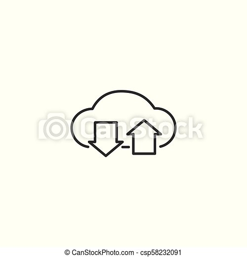 line cloud upload and download icon on white background - csp58232091