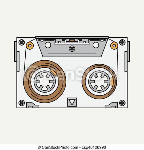 Line Color Vector Icon Audiocassette Hipster Style Audio Music