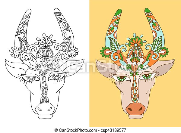 line decorative drawing of indian cow head, floral stylized - csp43139577