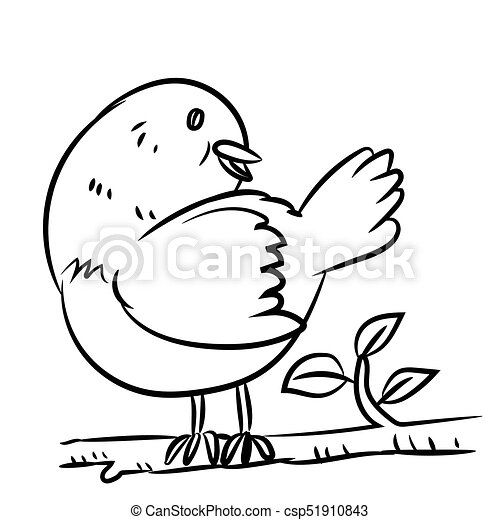Line drawing bird vector illustration
