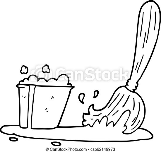 Line Drawing Cartoon Bucket And Mop