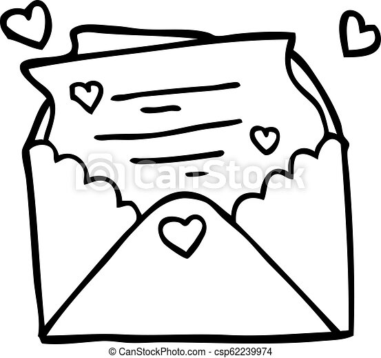 Line Drawing Cartoon Love Letter
