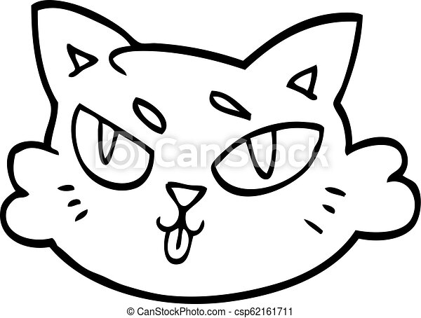 Line Drawing Cartoon Of A Cats Face