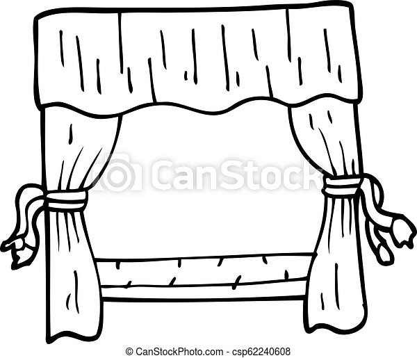 Line Drawing Cartoon Stage Curtains