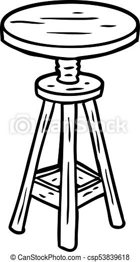 Charmant Line Drawing Of A Adjustable Artist Stool   Csp53839618