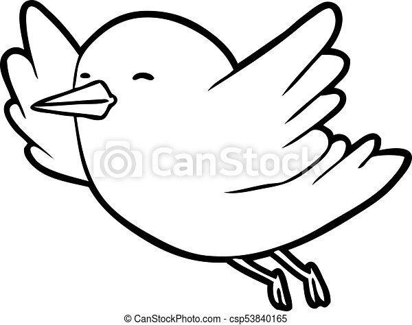 Line drawing of a bird flying csp53840165