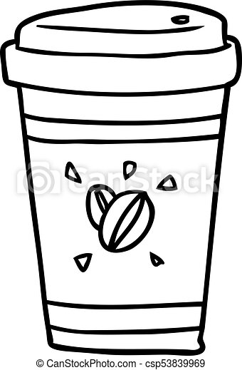 line drawing of a cup of takeout coffee