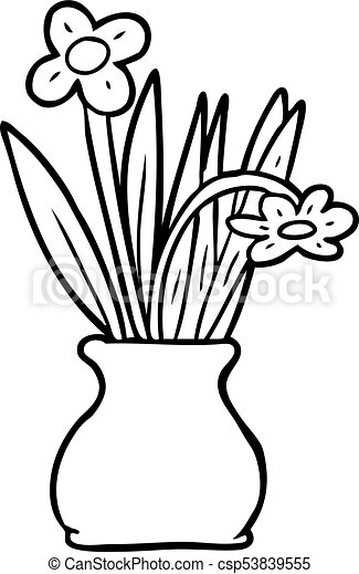 Line Drawing Of A Flowers In Vase