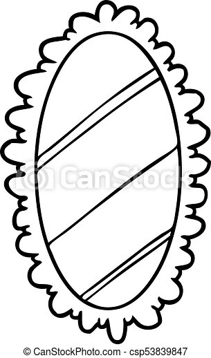 line drawing of a framed mirror