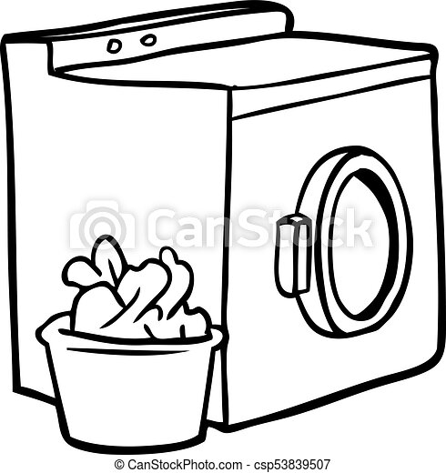 line drawing of a washing machine and laundry vector clipart rh canstockphoto com washing machine clipart black and white dish washing machine clipart