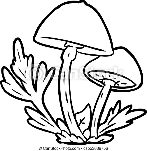 Line Drawing Of A Wild Mushrooms