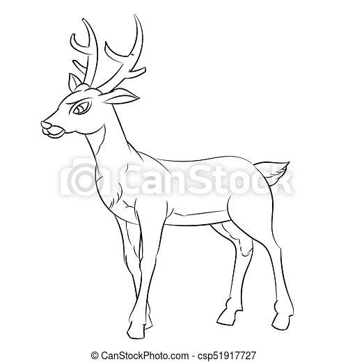 Line Drawing Of Deer Cartoon Simple Line Vector Hand Drawn Sketch Of Deer Cartoon Isolated Black And White Cartoon Vector