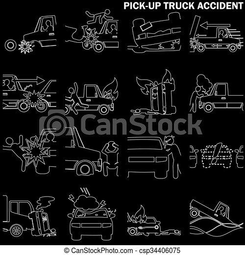 Line drawing of pickup truck accident and insurance sign. in vector ...