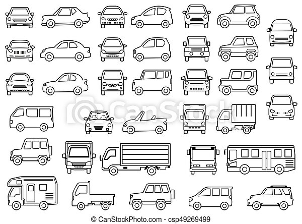 Line drawing of simple car - front and side -