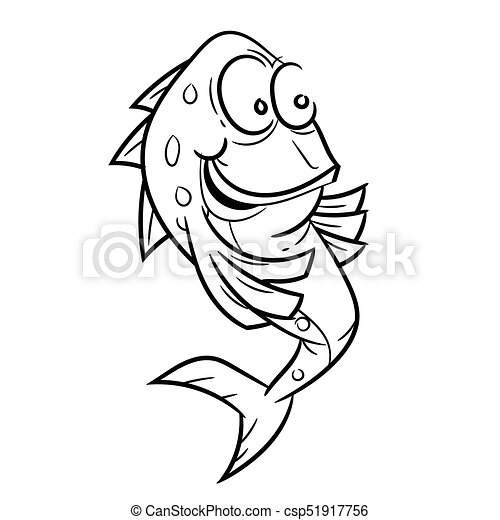 Line drawing of smiling fish cartoon simple line vector