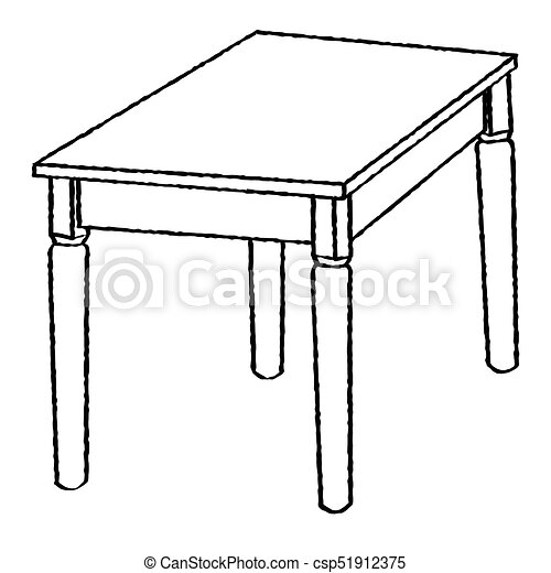 Line Drawing Of Table Simple Line Vector Hand Drawn Sketch Of
