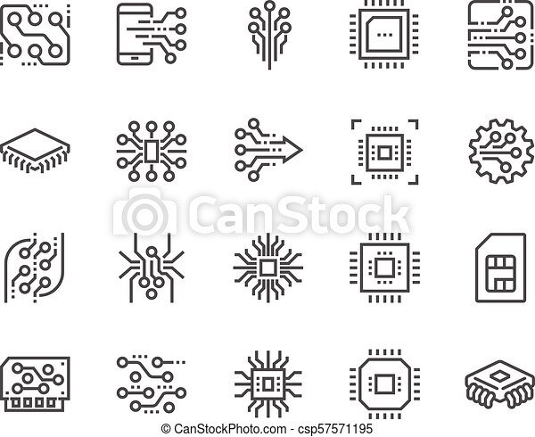 Line Electronics Icons Simple Set Of Abstract Electronics Related