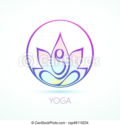 line figure in lotus pose inside a circle for yoga and