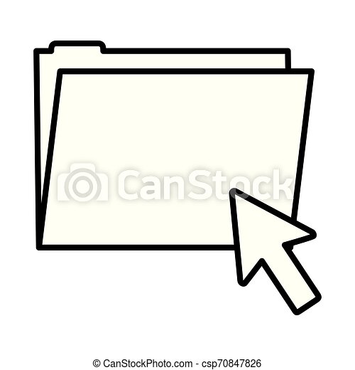 line folder file with arrow cursor mouse - csp70847826