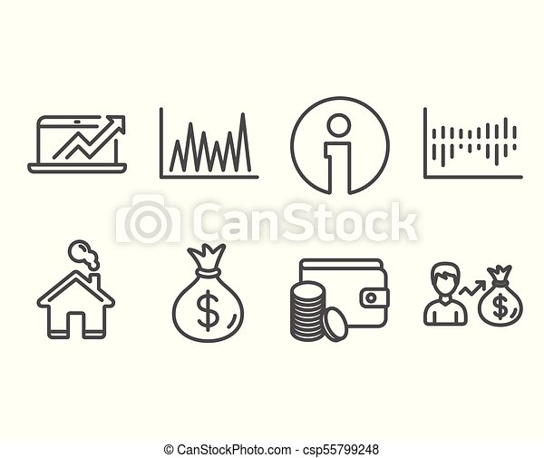 Set of line graph column diagram and sales diagram icons payment set of line graph column diagram and sales diagram icons payment method money bag and sallary signs sale statistics sale growth chart wallet with ccuart Gallery