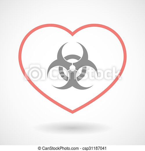 Line Heart Icon With A Biohazard Sign Illustration Of A Line Heart