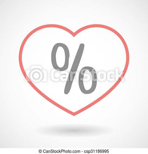 Line heart icon with a discount sign - csp31186995