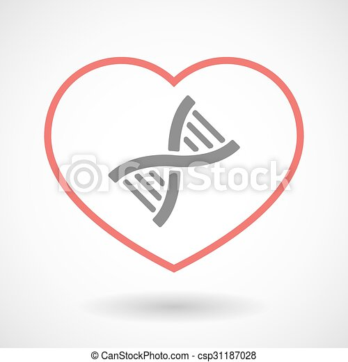 Line heart icon with a DNA sign - csp31187028