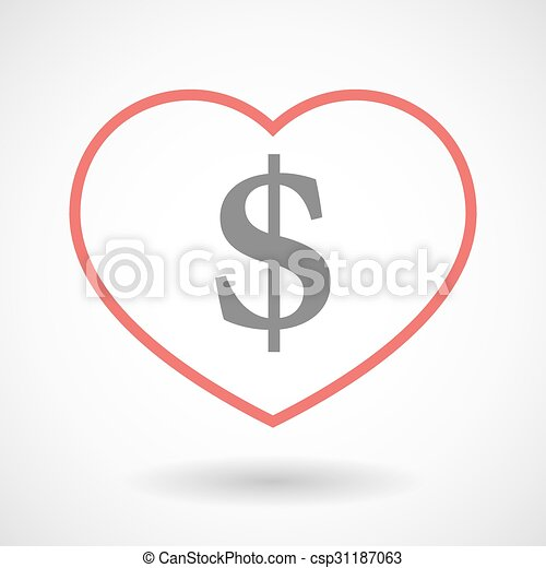 Line heart icon with a dollar sign - csp31187063