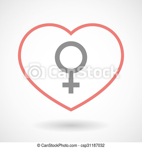 Line heart icon with a female sign - csp31187032