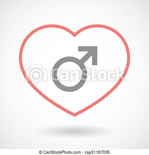Line heart icon with a male sign - csp31187035