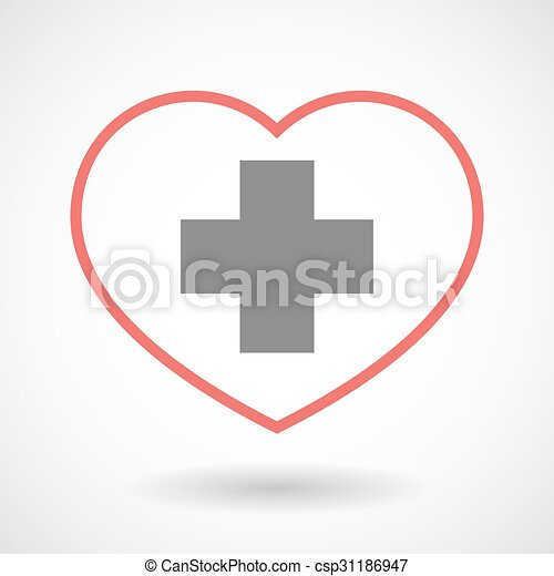 Line heart icon with a pharmacy sign - csp31186947