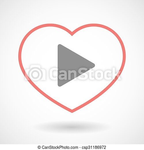 Line heart icon with a play sign - csp31186972