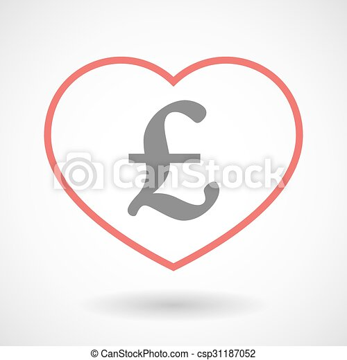 Line heart icon with a pound sign - csp31187052