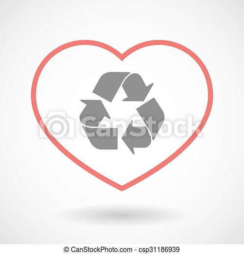 Line heart icon with a recycle sign - csp31186939